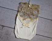 Newborn  Sheer Gold Lace Romper / V Back Onesie with Pearl Accents