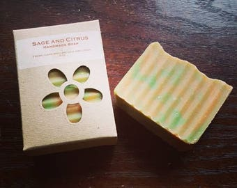 SAGE AND CITRUS- handmade soap with the crisp clean scent of sage  and citrus