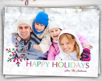 Modern Snowflake Photo Christmas Card Merry Christmas Happy Holidays Digital Download or Prints (Please See Details Below)