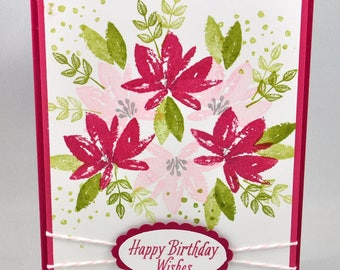 Birthday Greeting Card, Birthday Card, Happy Birthday, Birthday Wishes, Pink, Fuschia, Green, Flowers, Spring, Summer, For Her