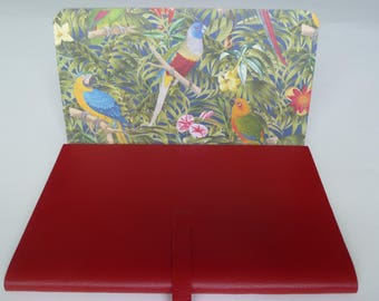 Larger Leather Journal Leather Book Travel Journal. Bright Red Leather lined with a Highly Colourful Jungle Scene with Parrots.
