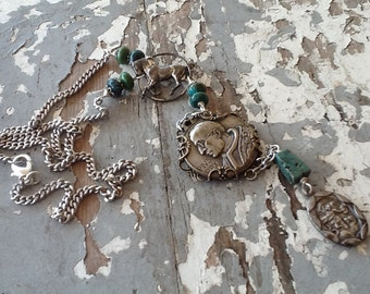 Religious Assemblage Necklace, Turquoise Necklace, Vintage Horse Jewelry, Upcycled Recycled Repurposed