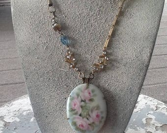 Rose Garden Assemblage Necklace  Repurposed Handmade Art Deco Porcelain Victorian Jewelry