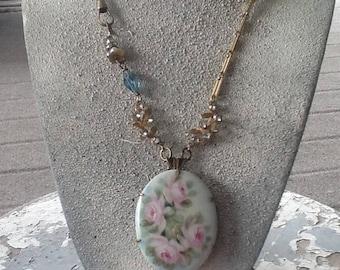 Rose Garden Assemblage Necklace  Repurposed Handmade Art Deco Porcelain Victorian Jewelry