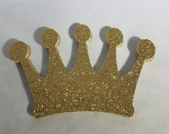 10 Large Glitter Princess Crowns // Tiaras // Prince // King // Queen //  Die Cuts 3 inches