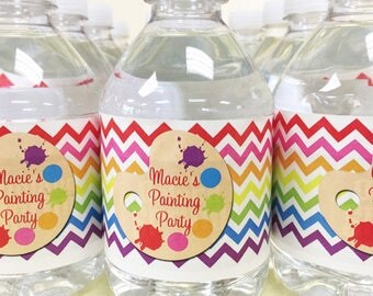 Printable Rainbow Water Bottle Labels - Chcevron and Polka Dots- Rainbow Paint Collection