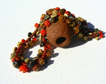 Red Lampwork Bead Necklace,Coral and Goldstone Necklace,Cluster Lampwork Necklace,OOAK