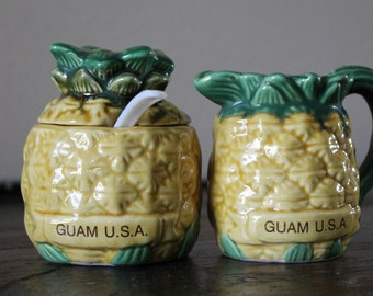 Vintage Guam USA Sugar Bowl and Creamer Pitcher