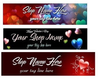 Ready Made Red Black Grunge  Valentine's Day Shop Banner - You Pick One