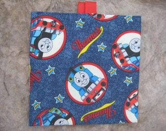 Thomas the Train Reusable Sandwich Bag, Reusable Snack Bag, Washable Treat Bag with easy open tabs