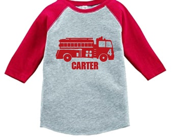 Personalized Birthday Firetruck Shirt - 3/4 or long sleeve relaxed fit raglan baseball shirt - Any age and name - pick your colors!