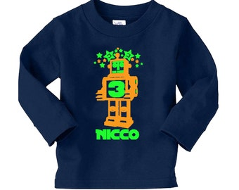 Robot Birthday Long Sleeve Shirt Personalized - any age and name- pick your colors!