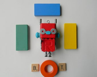 Robot Ornament - Red Bot - Upcycled Ornament - Hanging Decor by Jen Hardwick