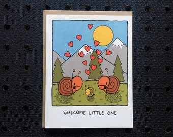 new baby snail card, adoption card, screen printed card, cute greeting card