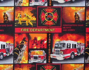 Fireman Collage, Fire Fighter, Firemen Fabric, America's Heroes, By the Yard, Cotton Fabric