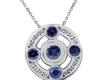 2 1/8ct Blue Sapphire Diamond Pendant 14K White Gold (G, VS)