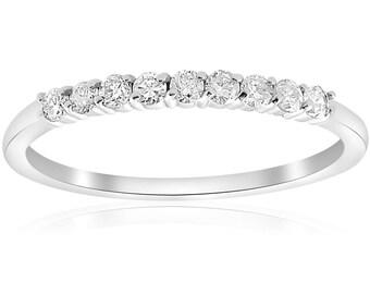 Diamond Wedding Ring, Diamond Ring 1/4CT Diamond Ring Womens Wedding Band 14 KT White Gold