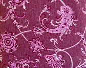 Burgundy Damask Vine Pleasure Knit Fabric, Combed Cotton/Polyester Blend, Fabric by the Yard