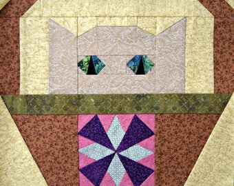 Windmill Cat Paper Piecing Quilt Block Pattern