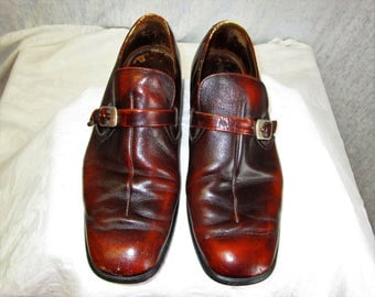 70s 10 Monk Strap Buckle Leather Mens Slip On Loafers Distressed Brown