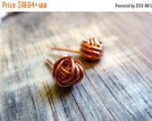 Shop Small Sale The Copper Knot-Copper Wire Wrapped Handmade Earrings-100%  Handmade- Wire Wrapped Stud Earrings