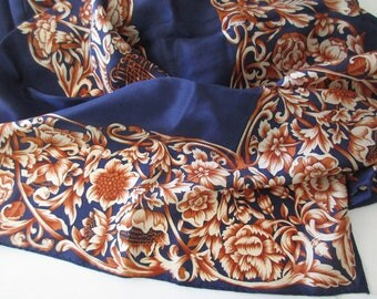 vintage silk scarf- large, Boston Museum of Fine Arts, made in Japan, floral, flourish, navy blue