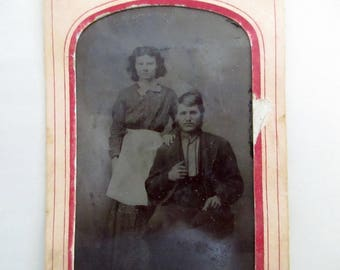 """antique tintype with paper frame - young working couple, woman with apron, poem on back, """"Father, Come Home"""""""