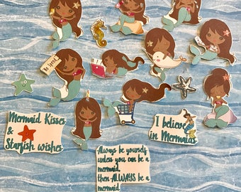 Be a Mermaid Diva 16 African American stickers will fit most planners