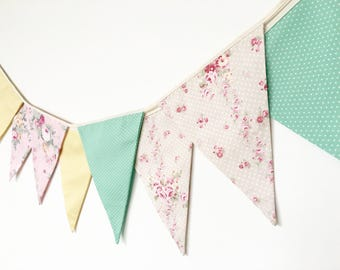 Spring Pastel Fabric Banners, Bunting, Garland, Wedding Bunting, Flags (pink, mint, yellow)  - 3 yards