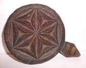 Rare Primitive Star Flower Wood Butter Mould Antique Pastry Bakers Mould