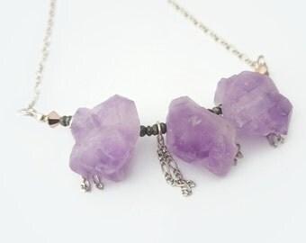 Raw Amethyst Necklace - Raw Amethyst Quartz Jewelry, Purple Amethyst Jewelry, February Birthstone, Raw Crystal Necklace