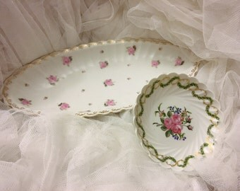 Shabby pink roses Hand-Painted Oblong Bowl by Wurttemberg, Germany and small rose dish, pink roses design bowl