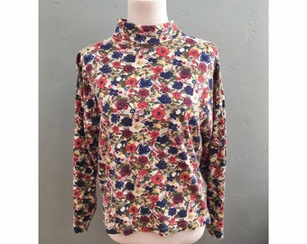 90s Floral Long Sleeve Turtleneck