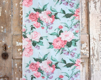 Cottage Chic Peachy Pink Cabbage Rose Vintage Robins Egg Blue Drapery Panel