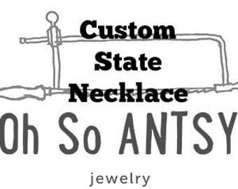 Custom State Necklace (sterling silver)