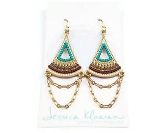 As seen on Jane the Virgin - bohemian earrings - boho earrings - gold earrings - fanned chandelier earrings - turquoise embellished