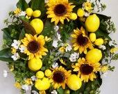 Spring Wreath, Summer Wreath, Lemon Wreath, Sunflower Wreath, Mother's Day Wreath, Yellow Lemon Wreath, Door Wreath