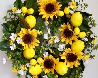 Fall Wreath, Summer Wreath, Lemon Wreath, Sunflower Wreath, Mother's Day Wreath, Yellow Lemon Wreath, Door Wreath