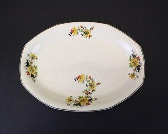 Vintage Homer Laughlin Platter w/Black, Yellow & Orange Flowers (E3360)