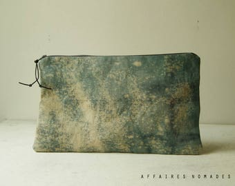 Linen Pouch. Boho clutch bag. Bag divider. passport ticket organizer. cosmetic pouch .wallet linen purse.