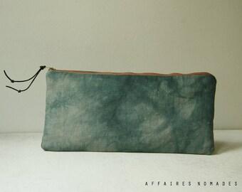Pouch. Pencil case. Utility pouch cosmetic bag. bag divider. Hand dyed pouch. Linen pouch. Wallet linen purse.