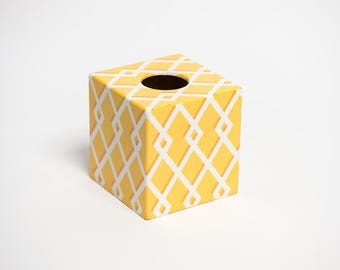Tissue Box Cover Moroccan Yellow wooden handmade in UK