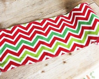 Chevron Holiday Table Runner - Red, Green and White - Made and Ready to Ship