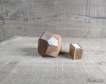 Faceted wood ring box - engagement ring box by Woodstorming - ready to ship