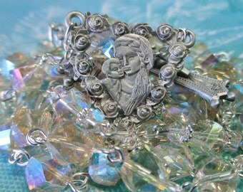 Catholic Rosary, 8mm Helix Ceylon Topaz AB Swarovski Crystal Beads, Pewter Heart Shaped Floral Center, Ornate Pewter Crucifix