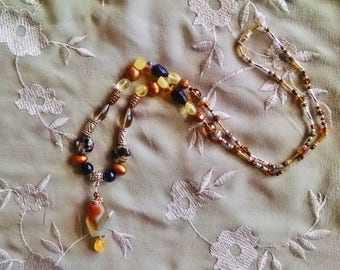 Bohemian agate citrine necklace with black and brown crystal, silver, copper, and freshwater pearl