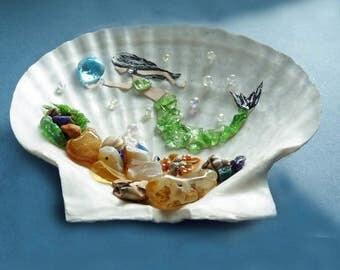 Beach art, sea shell, mermaid wall art, beach wall hanging, beach cabin art, bathroom art