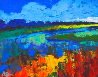 "Fine Art Giclee Print ""Rice Fields"" From Original Landscape Painting by Claire McElveen Signed"