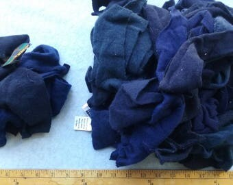 Cashmere Recycled Remnants - Navy for DIY Crafts and Projects - Choose bundle size