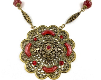 Antique Art Nouveau Edwardian Czech Brass Filigree Necklace with Carnelian Gemstone & Ruby Red Crystal